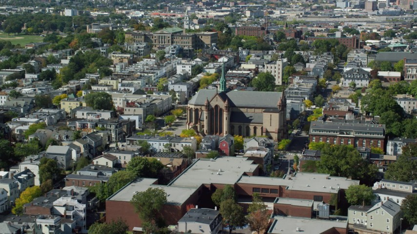 6K stock footage aerial video approaching Gate of Heaven Catholic Church, South Boston, Massachusetts Aerial Stock Footage | AX142_239