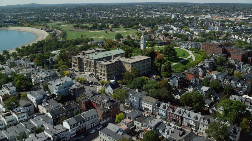 6K stock footage aerial video of South Boston Education Complex, tilt down, South Boston, Massachusetts Aerial Stock Footage | AX142_241