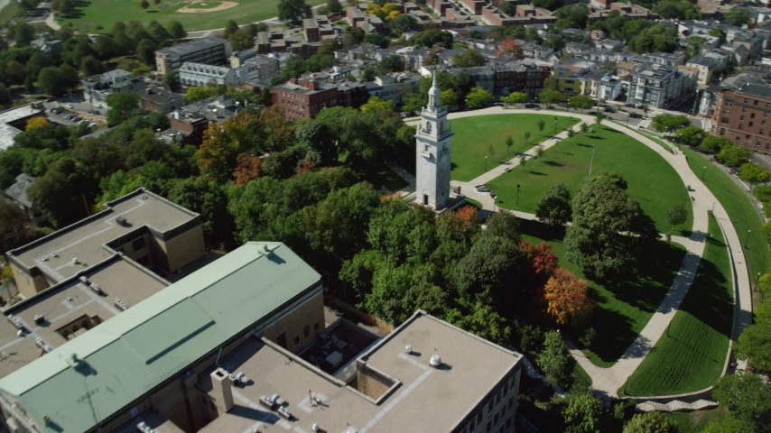 6K stock footage aerial video of South Boston Education Complex, Dorchester Heights Monument, South Boston, Massachusetts Aerial Stock Footage | AX142_242