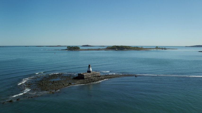 6K stock footage aerial video approaching, flying over Nix's Mate, towards Lovell Island, Boston Harbor, Massachusetts Aerial Stock Footage | AX142_252