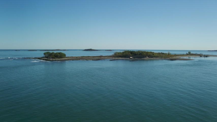 6K stock footage aerial video approaching Lovell Island, Boston Harbor, Massachusetts Aerial Stock Footage | AX142_253