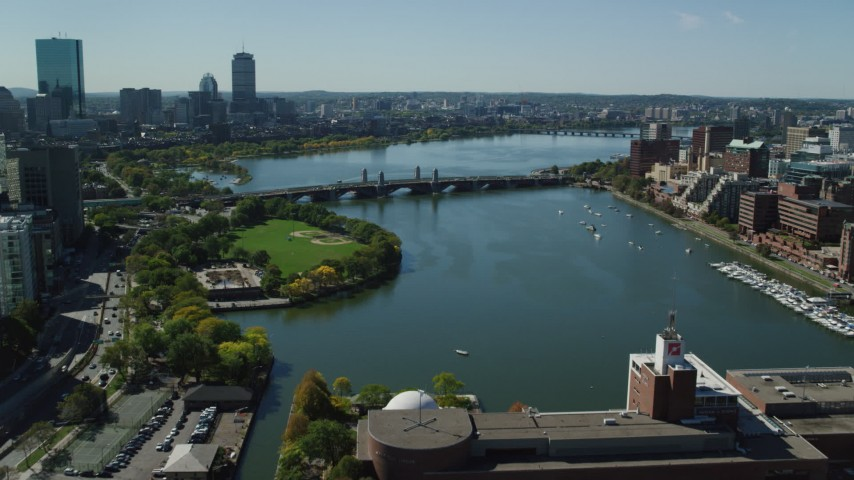 6K stock footage aerial video approaching the Longfellow Bridge, Boston, Massachusetts Aerial Stock Footage | AX142_302