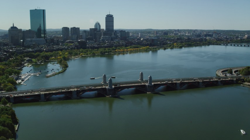6K stock footage aerial video approaching and flying over the Longfellow Bridge, Boston, Massachusetts Aerial Stock Footage | AX142_303