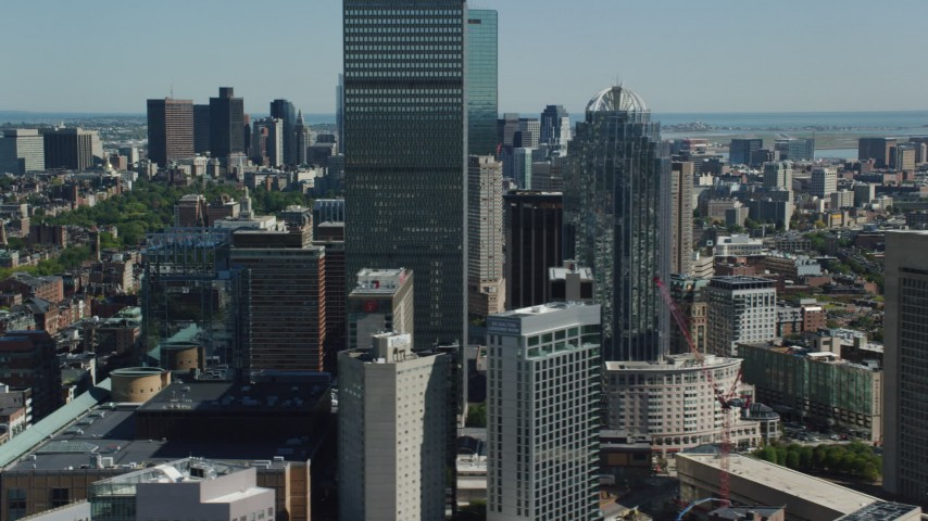 6K stock footage aerial video flying by Prudential Tower, 111 Huntington Avenue, Downtown Boston, Massachusetts Aerial Stock Footage | AX142_308