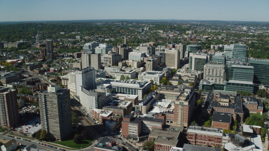 6K stock footage aerial video flying by the Longwood Medical Area, Boston, Massachusetts Aerial Stock Footage | AX142_309