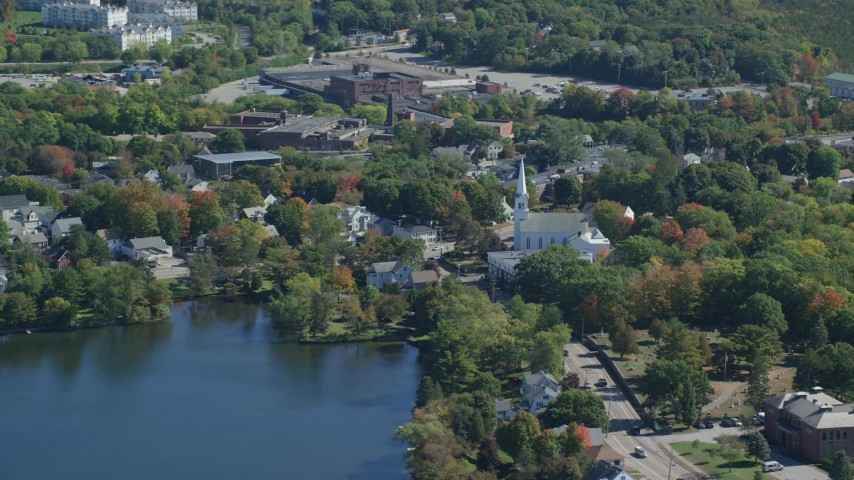 6K stock footage aerial video flying by small town with waterfront homes in autumn, Braintree, Massachusetts Aerial Stock Footage | AX143_008