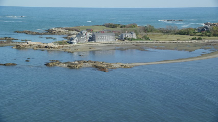 Flying by isolated upscale oceanfront home, Scituate, Massachusetts Aerial Stock Footage | AX143_030
