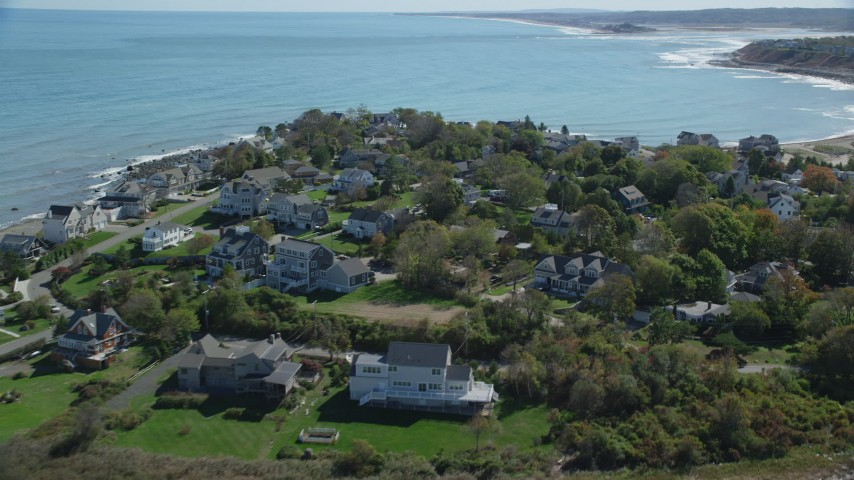 Flying by upscale oceanfront homes, Scituate, Massachusetts Aerial Stock Footage | AX143_044
