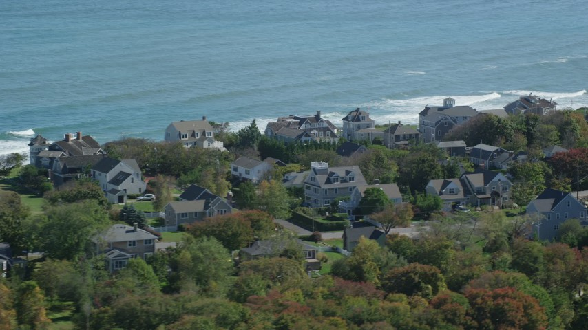 Flying by upscale oceanfront homes, Scituate, Massachusetts Aerial Stock Footage | AX143_046