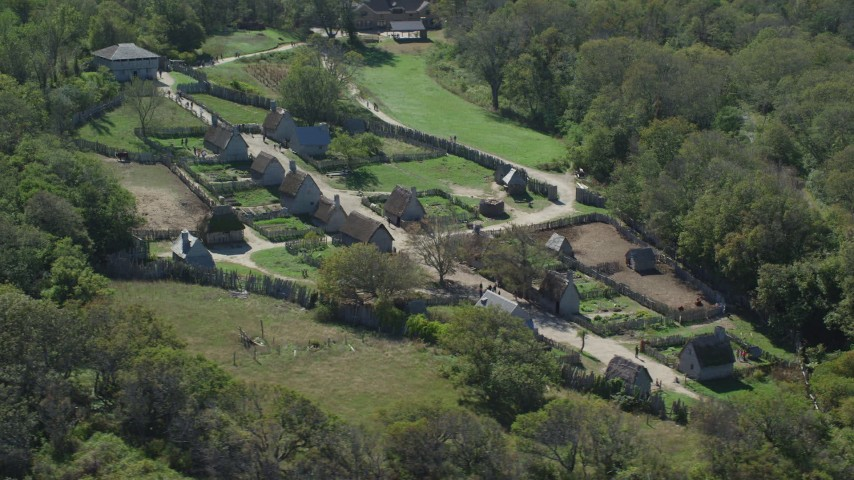 6K stock footage aerial video orbiting the Plimoth Plantation, Plymouth, Massachusetts Aerial Stock Footage | AX143_107