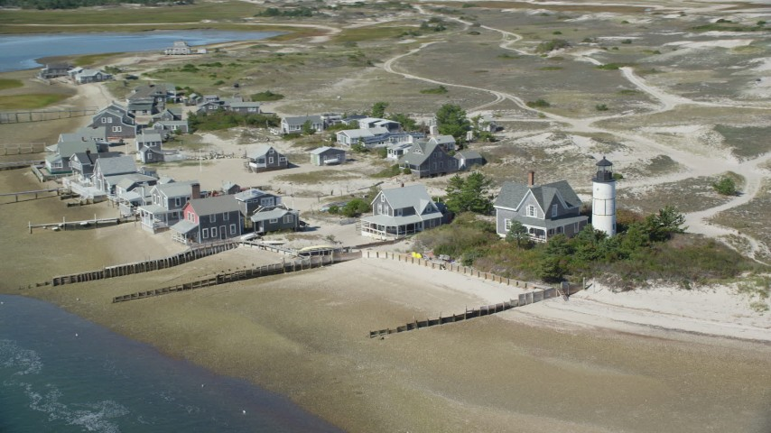 6K aerial video of Sandy Neck Colony, Sandy Neck Light, Cape Cod, Barnstable, Massachusetts Aerial Stock Footage AX143_145