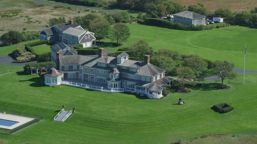 Orbiting mansion, Cape Cod, Dennis, Massachusetts Aerial Stock Footage | AX143_160