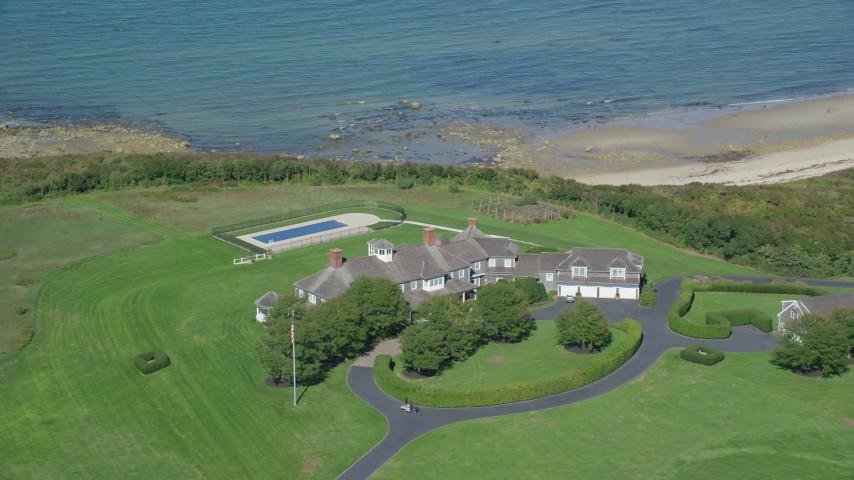 Orbiting mansion, Cape Cod, Dennis, Massachusetts Aerial Stock Footage | AX143_162