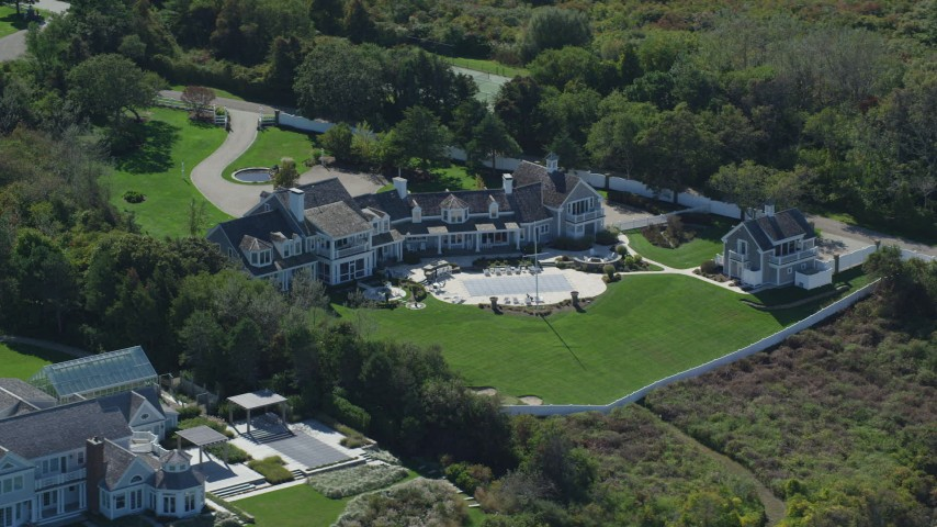 Orbiting mansion, green lawns, Cape Cod, Dennis, Massachusetts Aerial Stock Footage | AX143_166