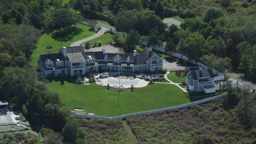Orbiting mansion, Cape Cod, Dennis, Massachusetts Aerial Stock Footage | AX143_167