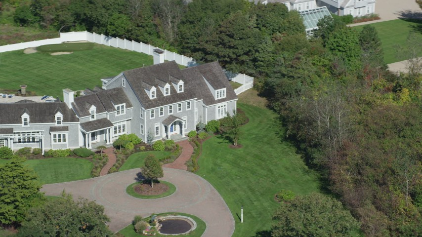 Orbiting front of mansion, Cape Cod, Dennis, Massachusetts Aerial Stock Footage | AX143_169