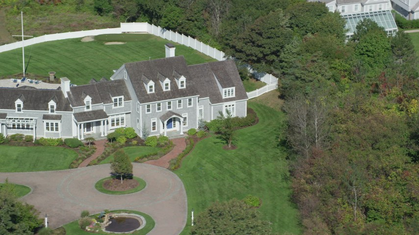 6K stock footage aerial video orbiting front of mansion, Cape Cod, Dennis, Massachusetts Aerial Stock Footage | AX143_169