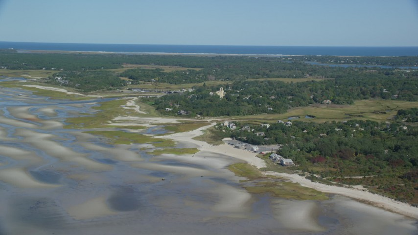 6K stock footage aerial video approaching small coastal town, Cape Cod, Orleans, Massachusetts Aerial Stock Footage | AX143_178