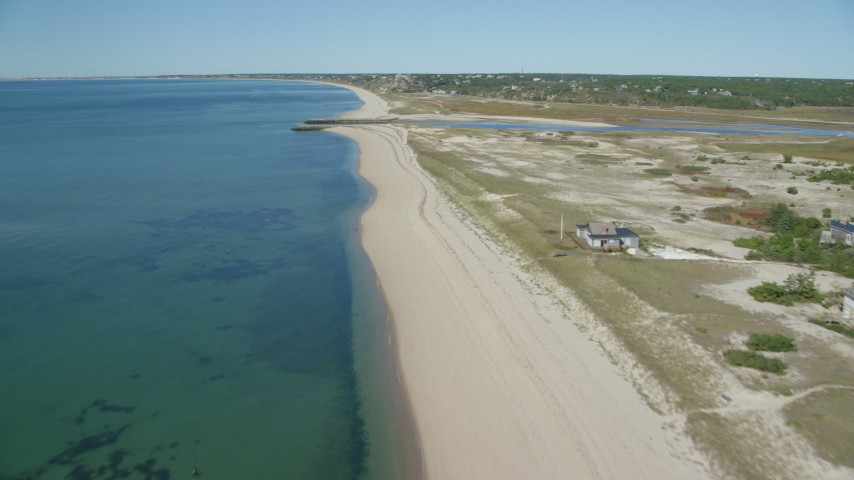 6K stock footage aerial video flying over beach, approaching inlet, Cape Cod, Truro, Massachusetts Aerial Stock Footage | AX143_204
