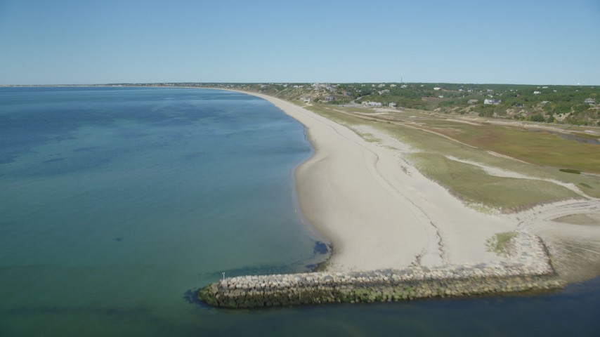 6K aerial video flying over beach, inlet, Cape Cod, Truro, Massachusetts Aerial Stock Footage | AX143_205
