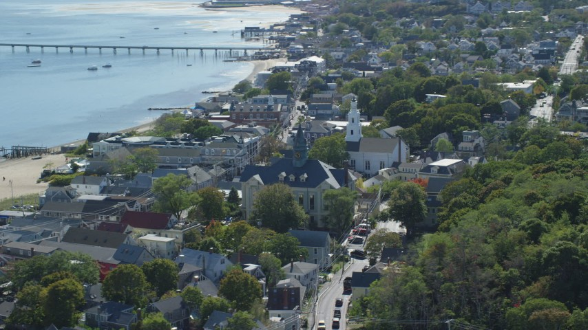 6K stock footage aerial video of Provincetown Town Hall, Unitarian Universalist Meeting House, Provincetown, Massachusetts Aerial Stock Footage | AX143_229