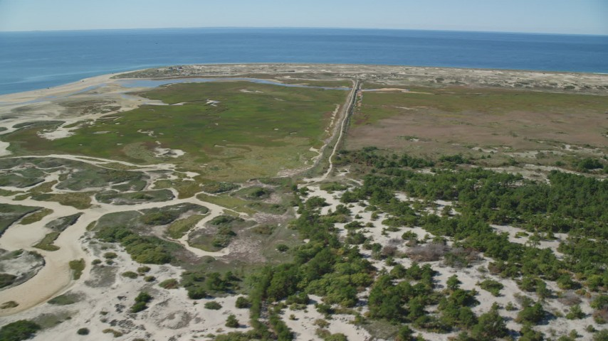 6K stock footage aerial video flying by marshland, scattered trees, Cape Cod, Provincetown, Massachusetts Aerial Stock Footage | AX143_254