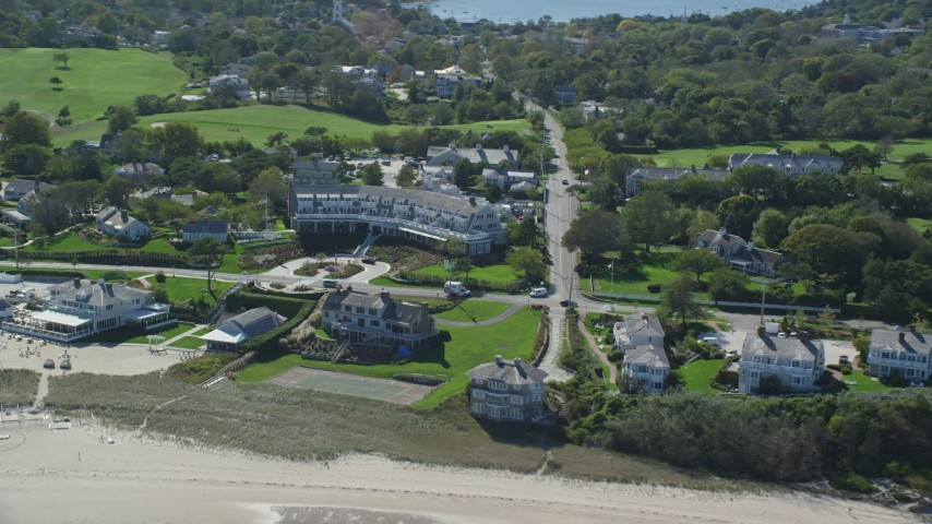Flying by Chatham Bars Inn, Cape Cod, Chatham, Massachusetts Aerial Stock Footage | AX144_048
