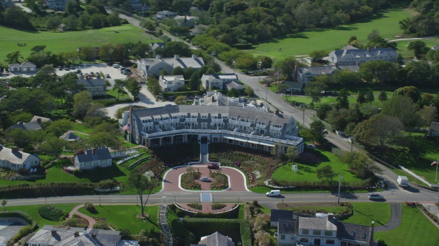 6K aerial video flying by Chatham Bars Inn, Cape Cod, Chatham, Massachusetts Aerial Stock Footage | AX144_048