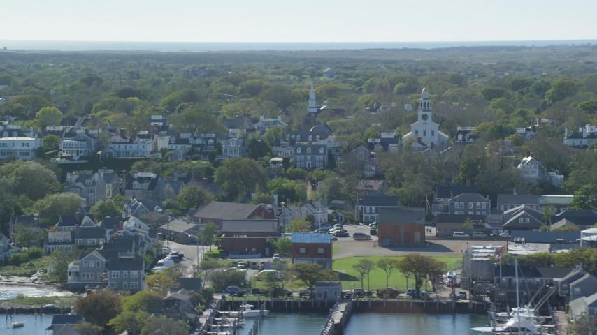 6K stock footage aerial video of a coastal community, Unitarian Universalist Church, Nantucket, Massachusetts Aerial Stock Footage | AX144_077
