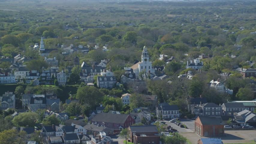 6K stock footage aerial video of Coastal Community, Unitarian Universalist Church, Nantucket, Massachusetts Aerial Stock Footage | AX144_078