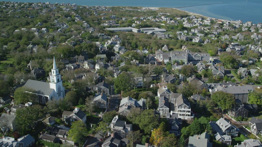 6K stock footage aerial video orbiting small coastal town, First Congregational Church, Nantucket, Massachusetts Aerial Stock Footage   AX144_084