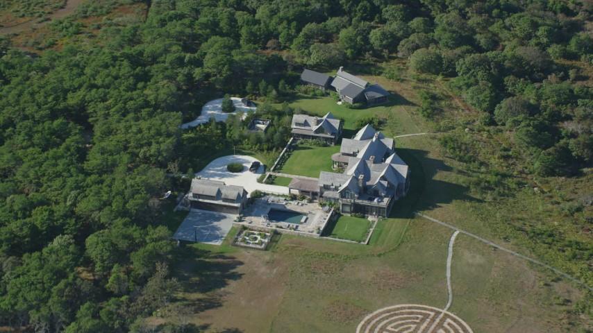6K stock footage aerial video of a bird's eye over mansion, Chappaquiddick Island, Martha's Vineyard, Massachusetts Aerial Stock Footage | AX144_125