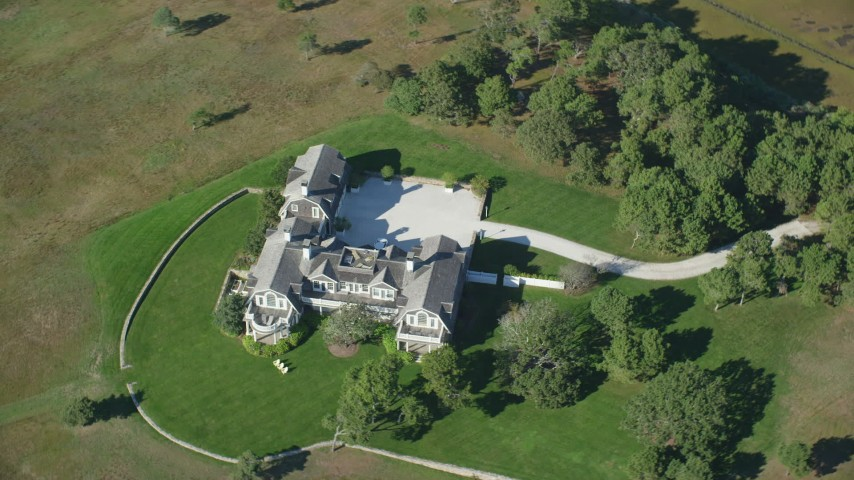 6K stock footage aerial video of a bird's eye view, isolated mansion, Chappaquiddick Island, Martha's Vineyard, Massachusetts Aerial Stock Footage | AX144_129