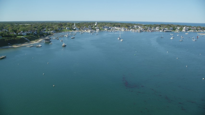 6K stock footage aerial video flying over Katana Bay, approaching Edgartown, Martha's Vineyard, Massachusetts Aerial Stock Footage | AX144_133