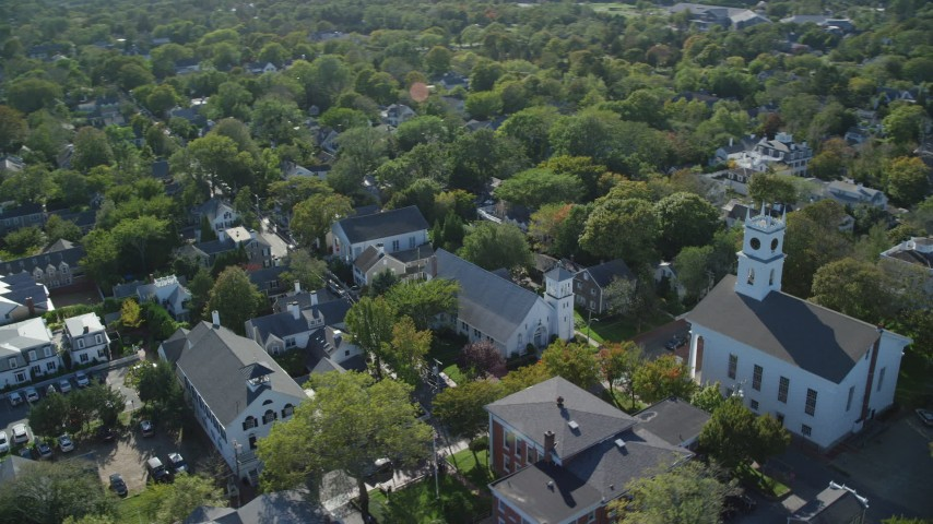 6K stock footage aerial video flying by Old Whaling Church, Edgartown, Martha's Vineyard, Massachusetts Aerial Stock Footage AX144_136 | Axiom Images
