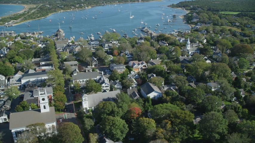 6K stock footage aerial video orbiting small coastal town, Edgartown, Martha's Vineyard, Massachusetts Aerial Stock Footage | AX144_137