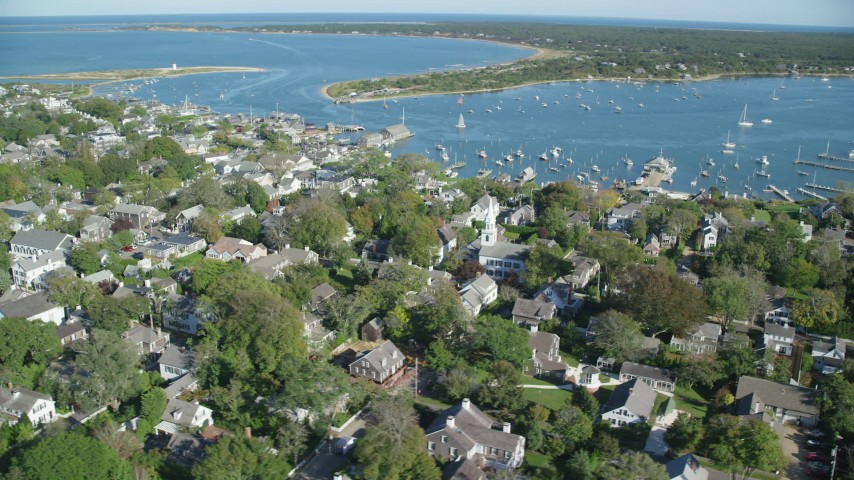 6K stock footage aerial video orbiting small coastal town, Edgartown, Martha's Vineyard, Massachusetts Aerial Stock Footage | AX144_138