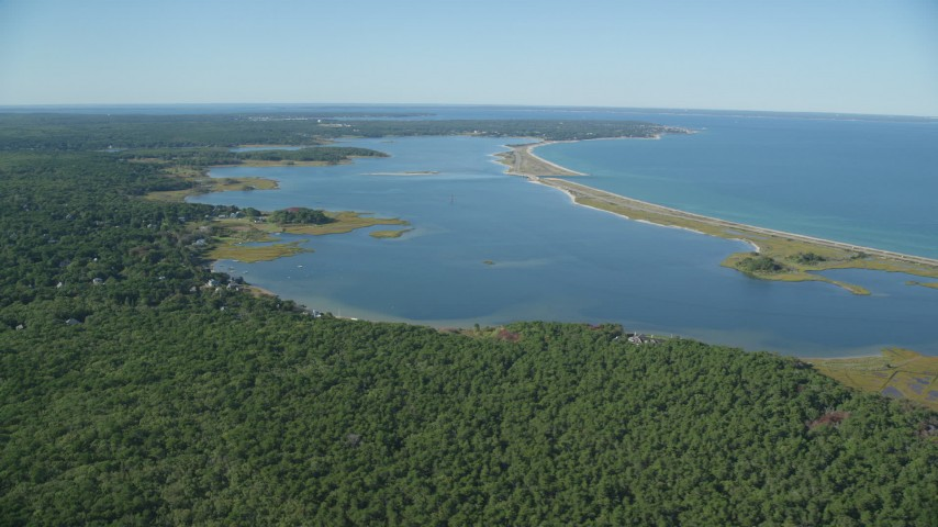 6K stock footage aerial video of Forest, Sengekontacket Pond, Edgartown, Martha's Vineyard, Massachusetts Aerial Stock Footage | AX144_146