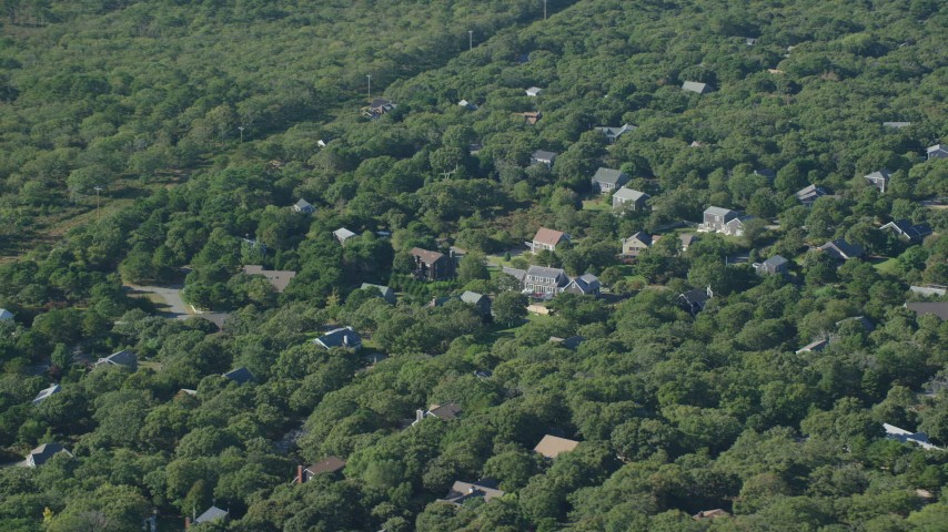6K stock footage aerial video of Island homes, forest, Edgartown, Martha's Vineyard, Massachusetts Aerial Stock Footage | AX144_149