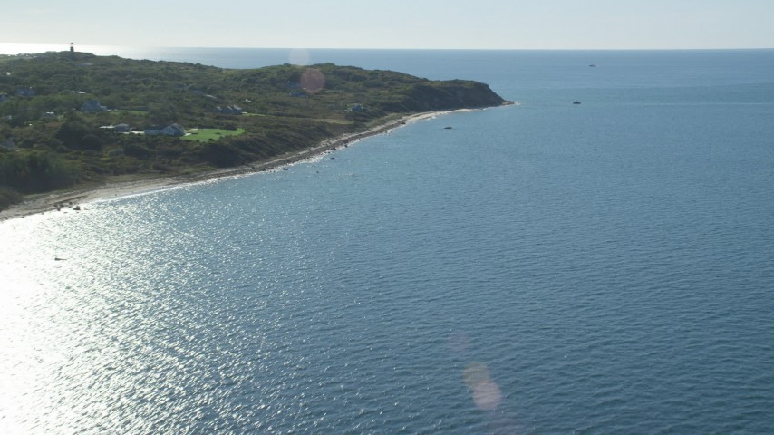 6K stock footage aerial video approaching beachfront homes, beach, Aquinnah, Martha's Vineyard, Massachusetts Aerial Stock Footage | AX144_162