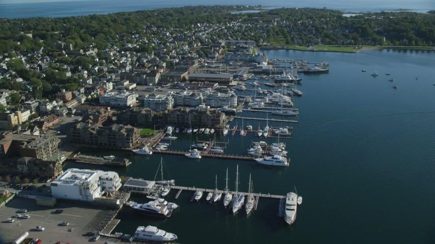 6k stock footage aerial video of waterfront hotels, marina, coastal community, Newport, Rhode Island Aerial Stock Footage | AX144_239