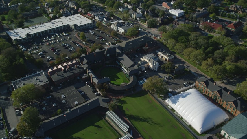 6k stock footage aerial video orbiting International Tennis Hall of Fame, Newport Casino, Newport, Rhode Island Aerial Stock Footage | AX144_243