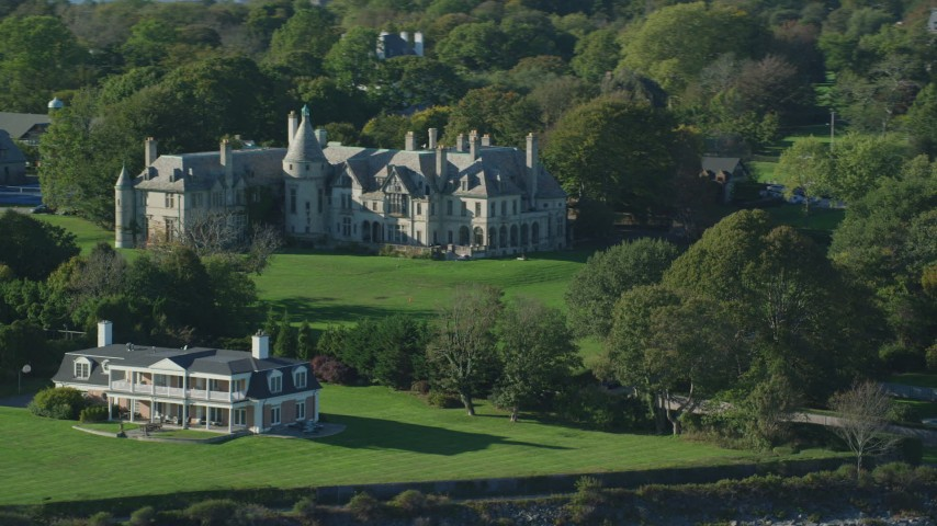 6k stock footage aerial video flying by Carey Mansion, Seaview Terrace, Newport, Rhode Island Aerial Stock Footage AX144_256 | Axiom Images