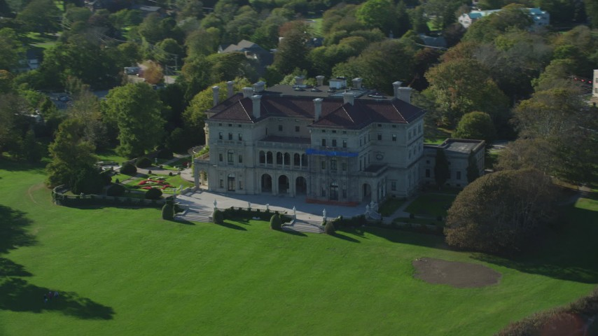 6k stock footage aerial video flying by The Breakers, mansion, Newport, Rhode Island Aerial Stock Footage | AX144_257