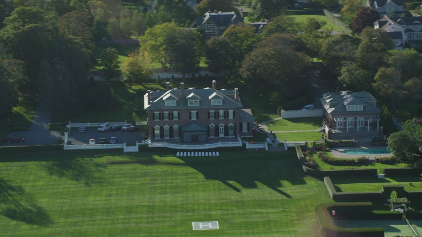 6k stock footage aerial video flying by an estate, green lawns, Newport, Rhode Island Aerial Stock Footage | AX144_259