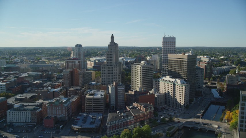 6k stock footage aerial video flying by the downtown skyline, Downtown Providence, Rhode Island Aerial Stock Footage | AX145_036