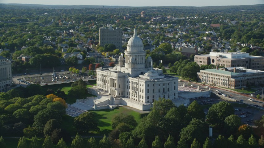 6k stock footage aerial video flying by the Rhode Island State House, Providence, Rhode Island Aerial Stock Footage | AX145_038