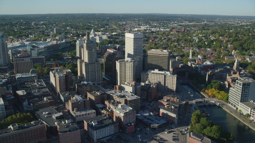 6k stock footage aerial video orbiting buildings and skyscrapers, Downtown Providence, Rhode Island Aerial Stock Footage | AX145_047