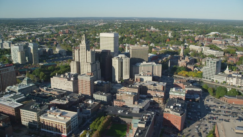6k stock footage aerial video orbiting buildings and skyscrapers, Downtown Providence, Rhode Island Aerial Stock Footage | AX145_048