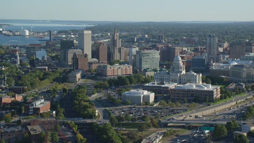 6k stock footage aerial video of Rhode Island State House, skyscrapers, Downtown Providence, Rhode Island Aerial Stock Footage | AX145_054